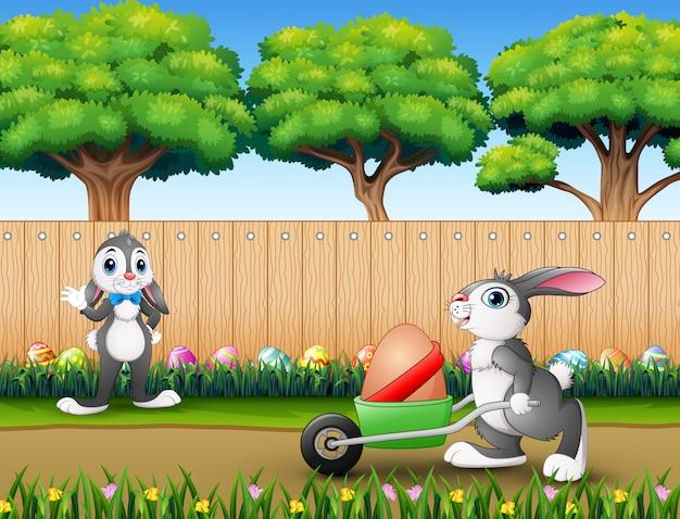 Gelukkige pasen-konijntjes op de aard
