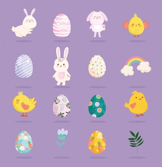 Gelukkige pasen-leuke bloem van de regenboogeieren van konijnenkippen
