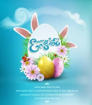 Gelukkige pasen met gekleurde eieren, konijntjesoren, bloemen, lieveheersbeestje, en vlinder en tekst, in kaart-ei-als