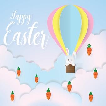 Gelukkige pasen met konijn op hete luchtballon in document besnoeiing