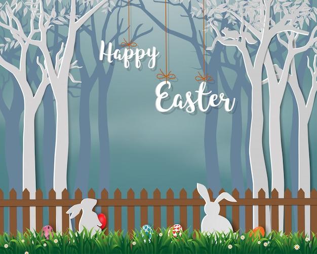 Gelukkige pasen met schattige konijnen en kleurrijke eieren