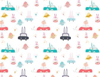 Gelukkige Pasen-patroonachtergrond, Leuk Pasen-patroon voor jonge geitjes, Vetor-illustratie.