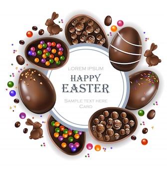 Gelukkige pasen-ronde kaart met chocoladekonijntje en eieren
