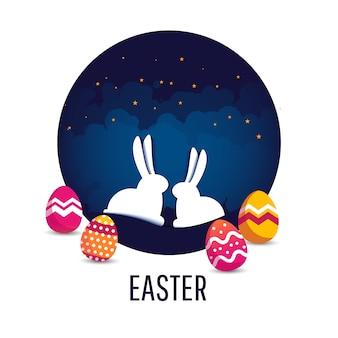 Gelukkige pasen-scène met eieren en konijnen.