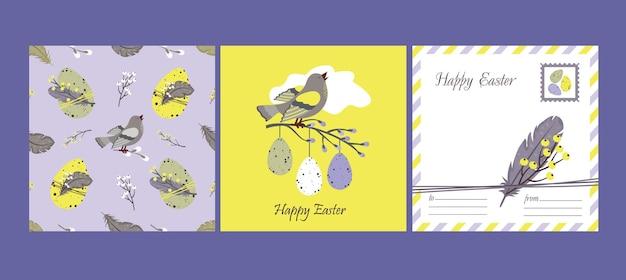 Gelukkige pasen set: wenskaart en naadloos patroon. wilg, veren, zingende vogels, paaseieren.