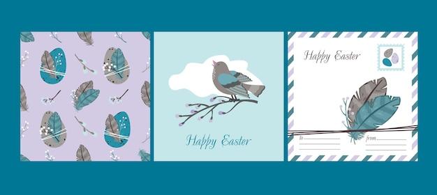 Gelukkige pasen set: wenskaart en naadloos patroon. wilgen, paaseieren, zingende vogels, veren.