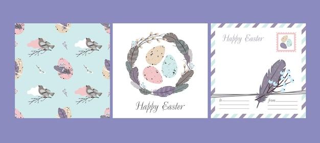 Gelukkige pasen set: wenskaart en naadloos patroon. wilgenkrans, veren, vogel, paaseieren.