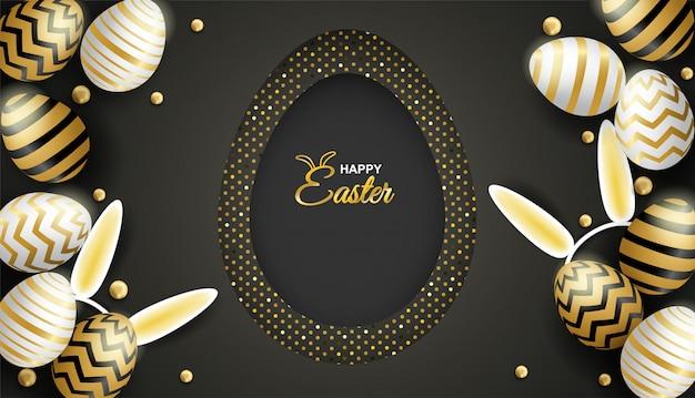 Gelukkige pasen-viering ei op zwarte achtergrond.