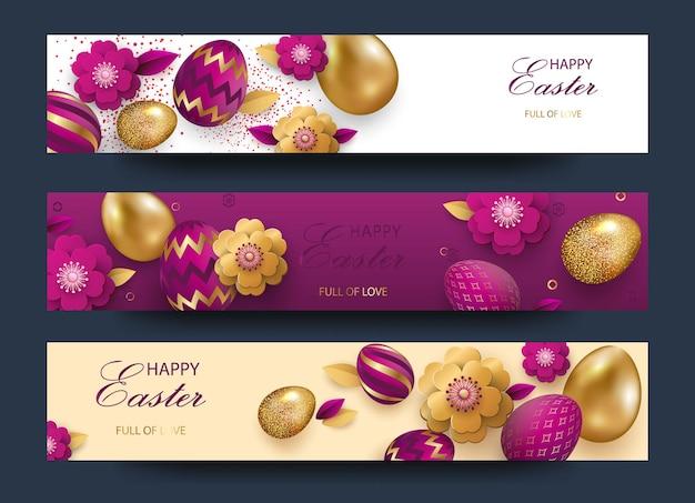 Gelukkige pasen-wenskaarten die met gouden versierde gouden eieren worden geplaatst