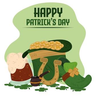 Gelukkige patrick's day-hoed met munten, schoen, hoefijzer en bier