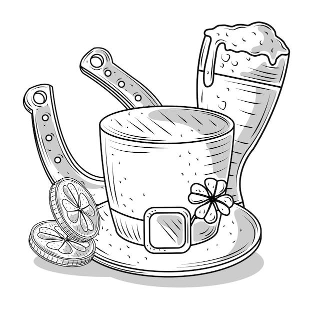 Gelukkige patricks-dagillustratie in zwart-wit