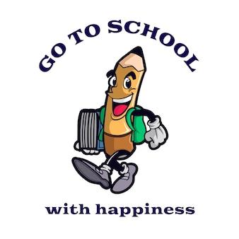 Gelukkige pen en ga naar school mascotte illustratie