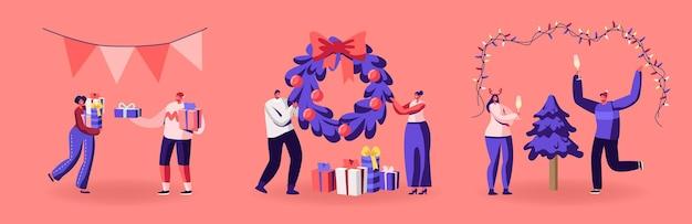 Gelukkige personages die nieuwjaar of kerstfeest vieren, plezier maken en dansen