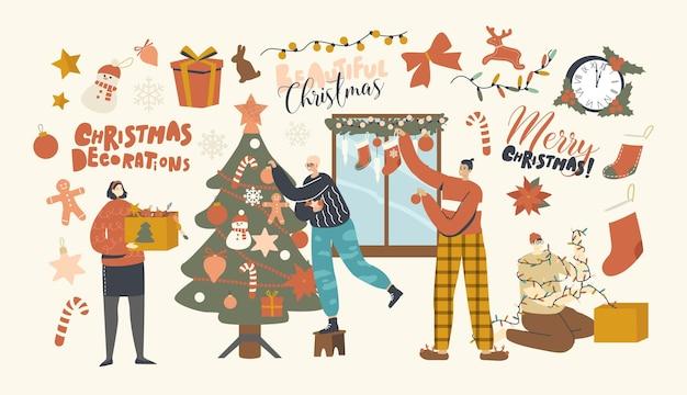 Gelukkige personages versieren kerstboom. familie of vrienden bedrijf hangende kerstballen en slinger op dennenboom en raam. mensen bereiden zich voor om nieuwjaar of kerstmis thuis te vieren. lineaire vectorillustratie