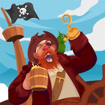 Gelukkige piratenkapitein die lacht terwijl hij een biertje vasthoudt op een piratenschip op heldere dag