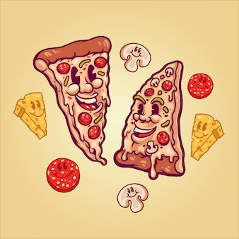 Gelukkige pizza illustratie