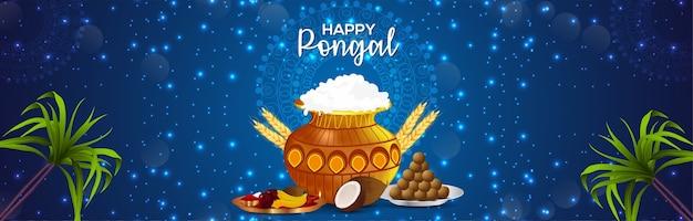 Gelukkige pongal-banner met creatieve modderpot en suikerriet