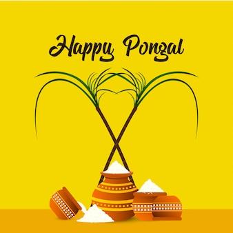 Gelukkige pongal-festivalachtergrond - vector