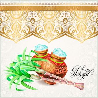 Gelukkige pongal groetkaart aan festival van de het zuiden het indische oogst