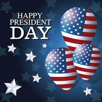 Gelukkige president dag ballonnen vlag ster achtergrond