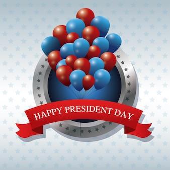 Gelukkige president dag bos ballonnen lint label