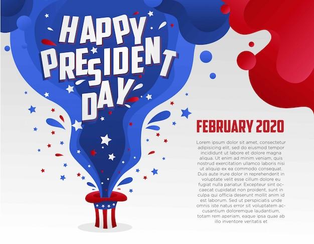 Gelukkige president dag illustratie van vloeistoffen en sprankeling komt uit de amerikaanse hoed