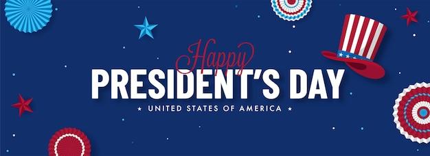 Gelukkige president's day-tekst met uncle sam-hoed