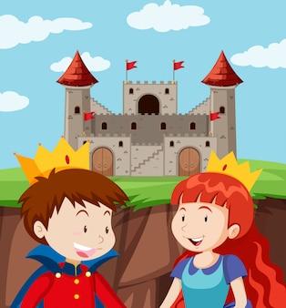 Gelukkige prins en prinses bij kasteel