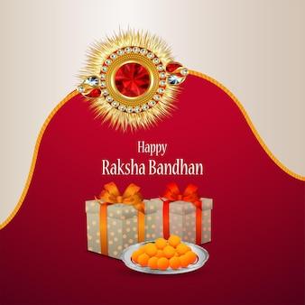 Gelukkige rakhi decoratieve rakhi met goud en kristal met geschenken