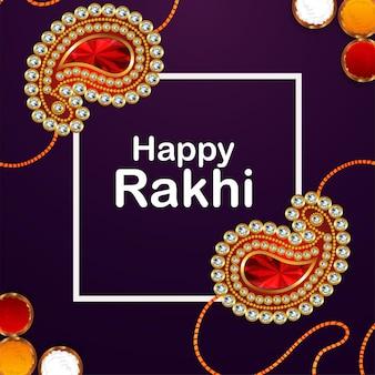 Gelukkige raksha bandhan-achtergrond met realistische rakhi