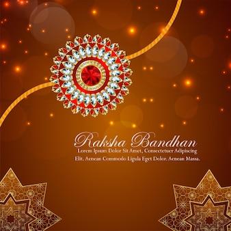 Gelukkige raksha bandhan viering achtergrond met goud en kristal rakhi