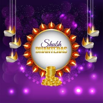 Gelukkige raksha bandhan-vieringsachtergrond met gouden muntpot