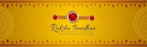 Gelukkige raksha bandhan-vieringsbanner met kristallen rakhi