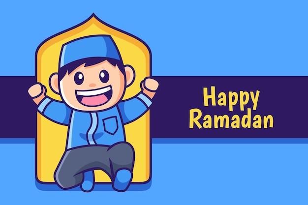 Gelukkige ramadan cartoon moslimjongen springen