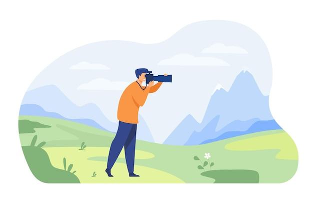 Gelukkige reisfotograaf die foto van aard geïsoleerde vlakke illustratie neemt