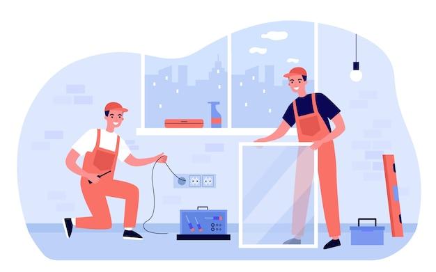 Gelukkige reparateurs die renovatie thuis illustratie doen. cartoon werknemers repareren raam en elektriciteit in gebouw. kamer interieur en concept