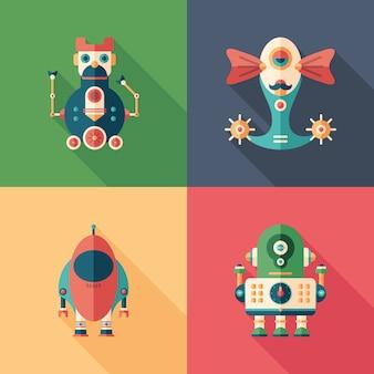 Gelukkige robots vlakke vierkante pictogrammen met lange schaduwen