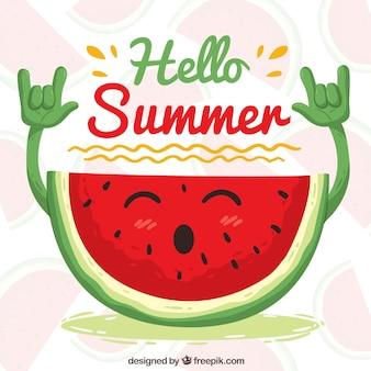 Gelukkige rocker watermeloen achtergrond