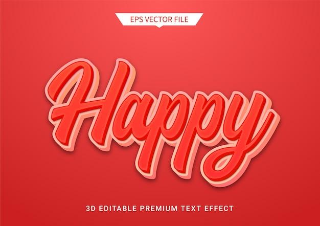 Gelukkige rode 3d bewerkbare tekststijl effect premium vector