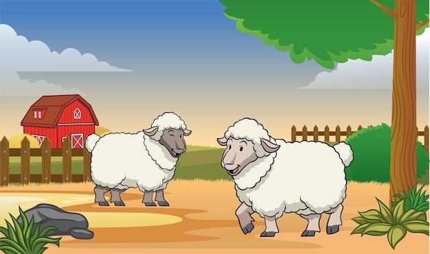 Gelukkige schapen op de boerderij met cartoonstijl