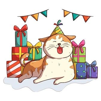 Gelukkige schattige kat viert verjaardag met geschenkdoos