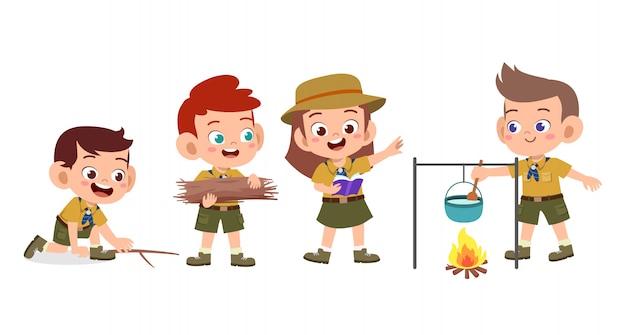 Gelukkige schattige kinderen op kamp set