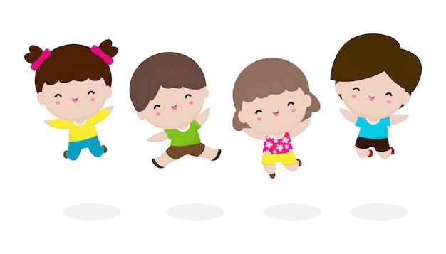Gelukkige schattige kinderen springen samen met vriend, set spelende kinderen geïsoleerd op een witte achtergrond