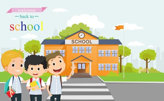 Gelukkige schooljongen die samen naar school gaat. terug naar school concept
