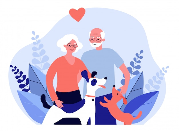 Gelukkige senior paar met honden