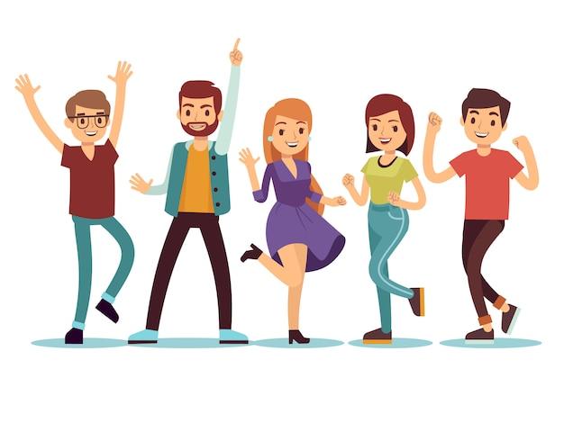 Gelukkige smilling dansende jonge personen bij kerstmispartij. cartoon vector mensen instellen