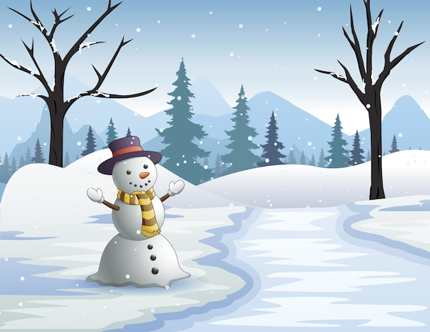 Gelukkige sneeuwman door een bevroren rivier in het besneeuwde bos