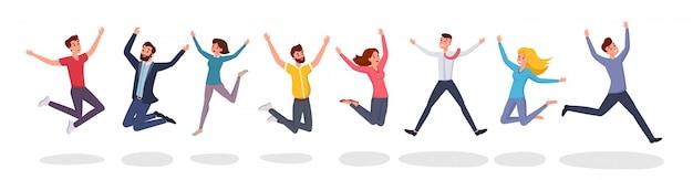 Gelukkige springende mensen binnen in vlakke stijlstijl.