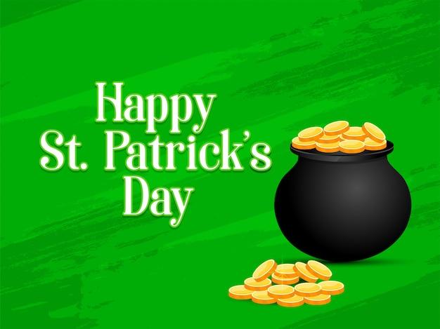 Gelukkige st. patrick dag op groene achtergrond