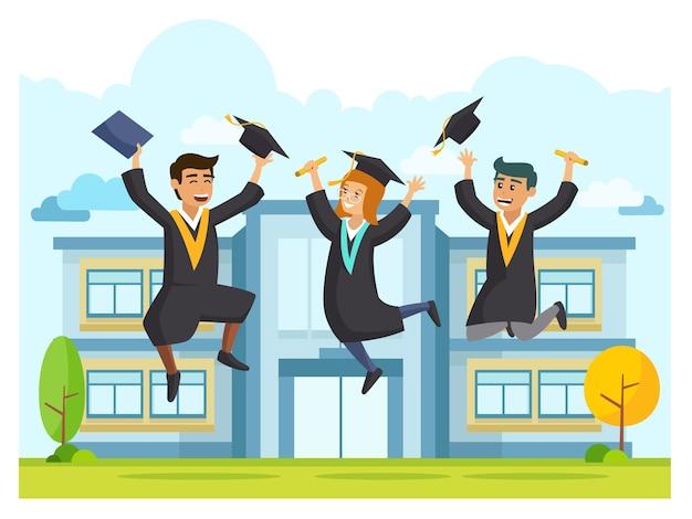 Gelukkige student die in de partij van de graduatieceremonie springt